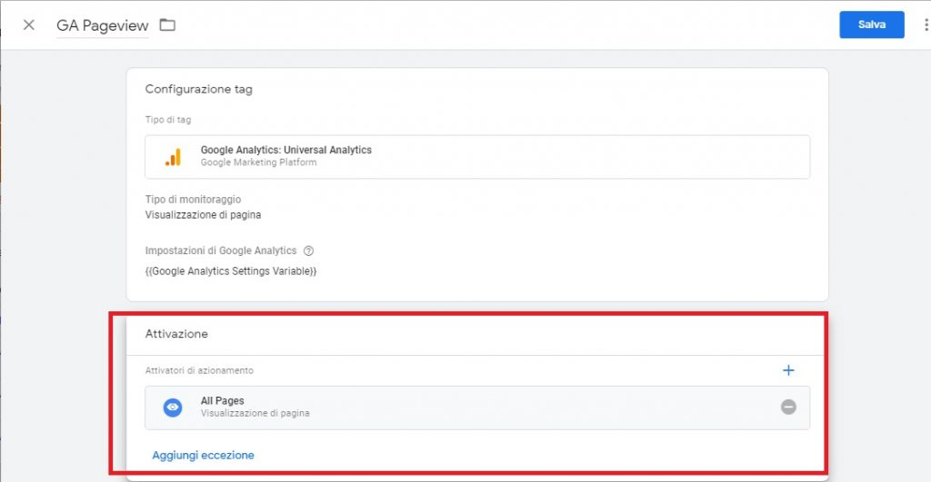 il tag di analytics in google tag manager