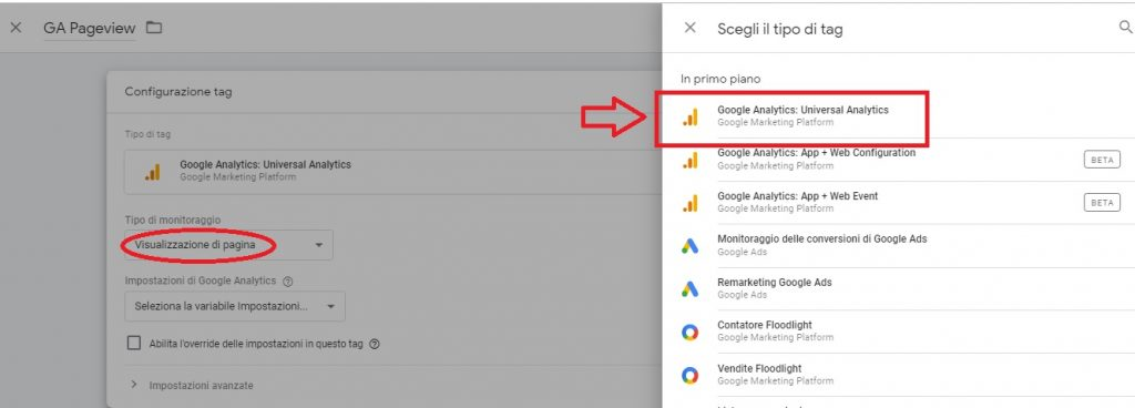 Seleziona il tag Universal Analytics in Tag Manager