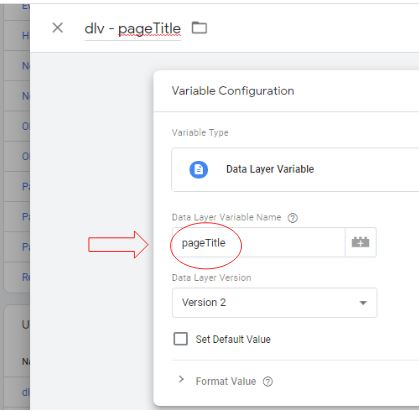 data layer variable pageTitle