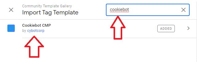 search cookiebot cmp