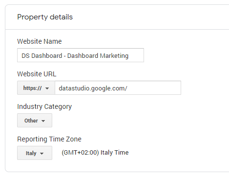 create property in google analytics