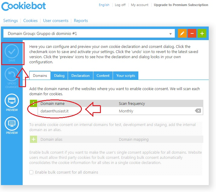 insert the domain name in cookiebot
