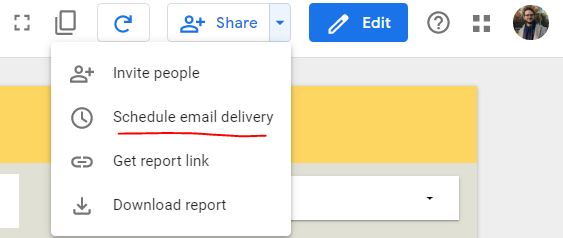 click on share schedule email in google data studio