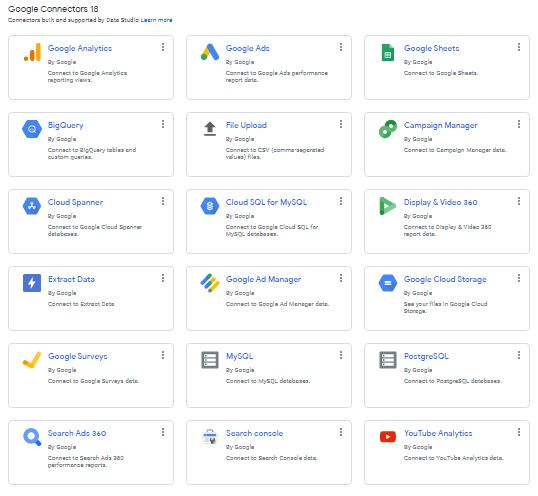 connettori google data studio
