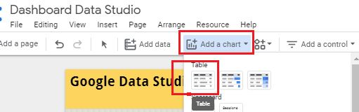 add a new table chart in data studio