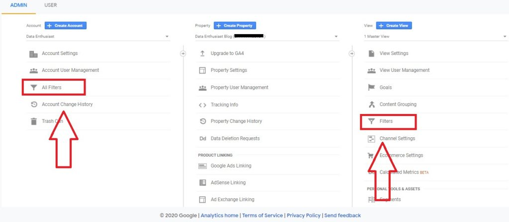 filters in admin analytics