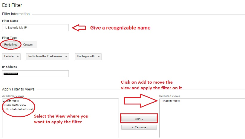 apply the filter on the view in analytics