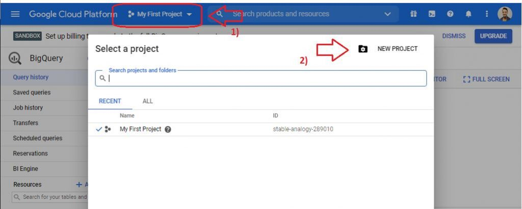 new project in google bigquery