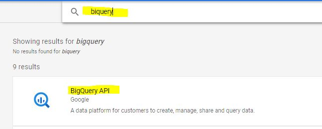 select bigquery in the library