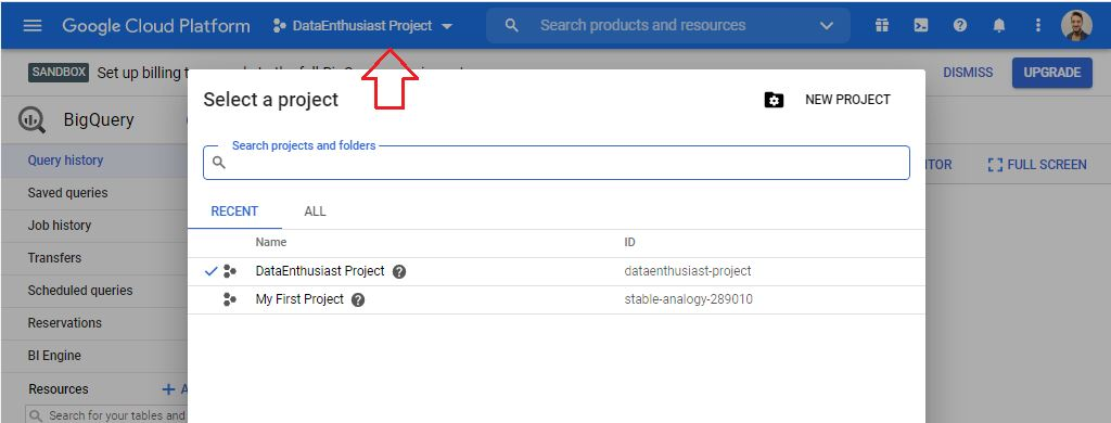 select projects in bigquery