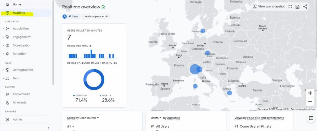 real time report map google analytics 4