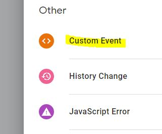 trigger custom event tag manager