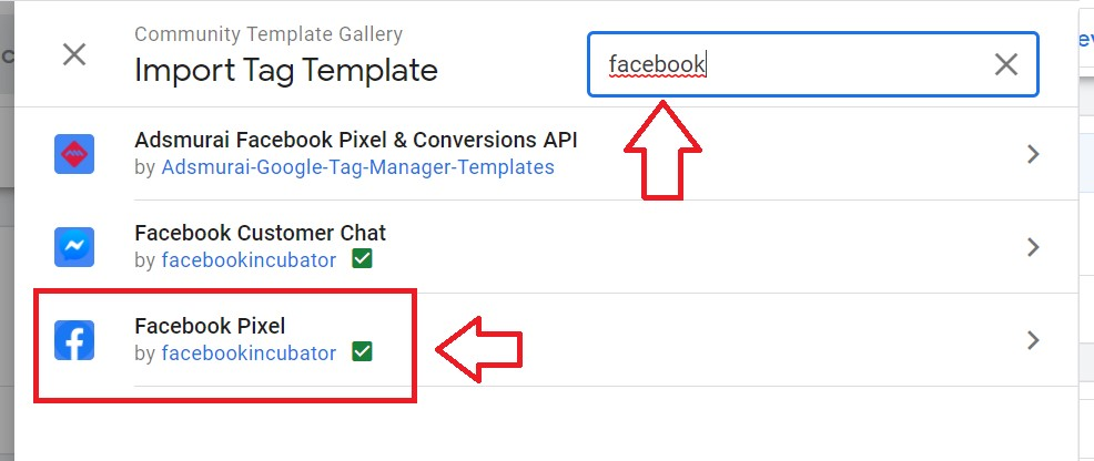 facebook template in tag manager