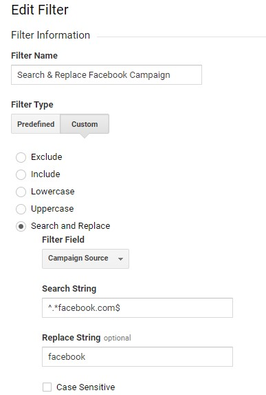 search and replace filter facebook