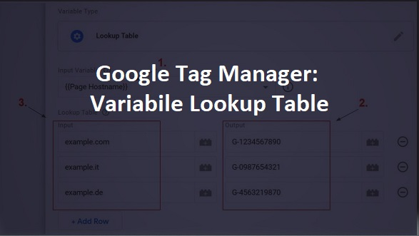 variabile lookup table in google tag manager