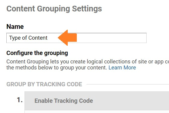 Name your Content Grouping: