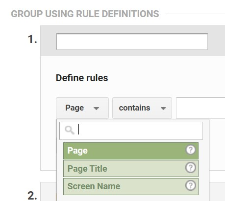 define rules in content grouping