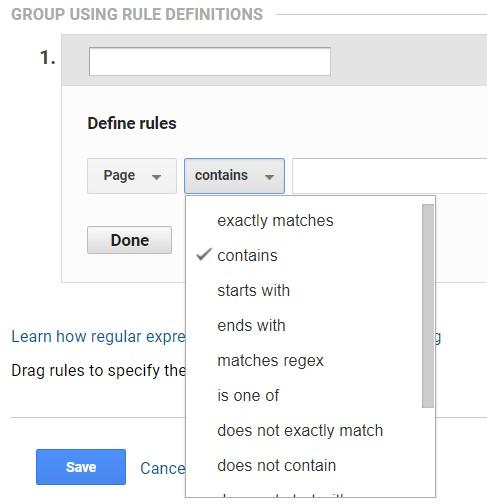 google analytics rule definitions